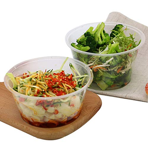 ble Plastic White Transparent Sealed Leak Proof Packaging Bowl, Sushi Sashimi Pasta Noodle Box[50 Pack] (Color : 750ml) ()