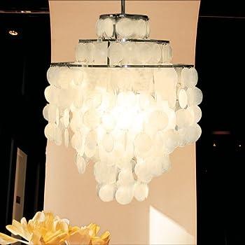 Aero Snail 3 Light Round Chandelier With Round Capiz Seashells Natural  White DIY Pendant Light