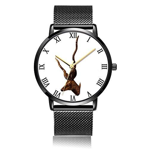 Whiterbunny Customized Brass Head Wrist Watch Unisex Analog Quartz Fashion Black Steel Strip/Black Dial Plate for Women and Men