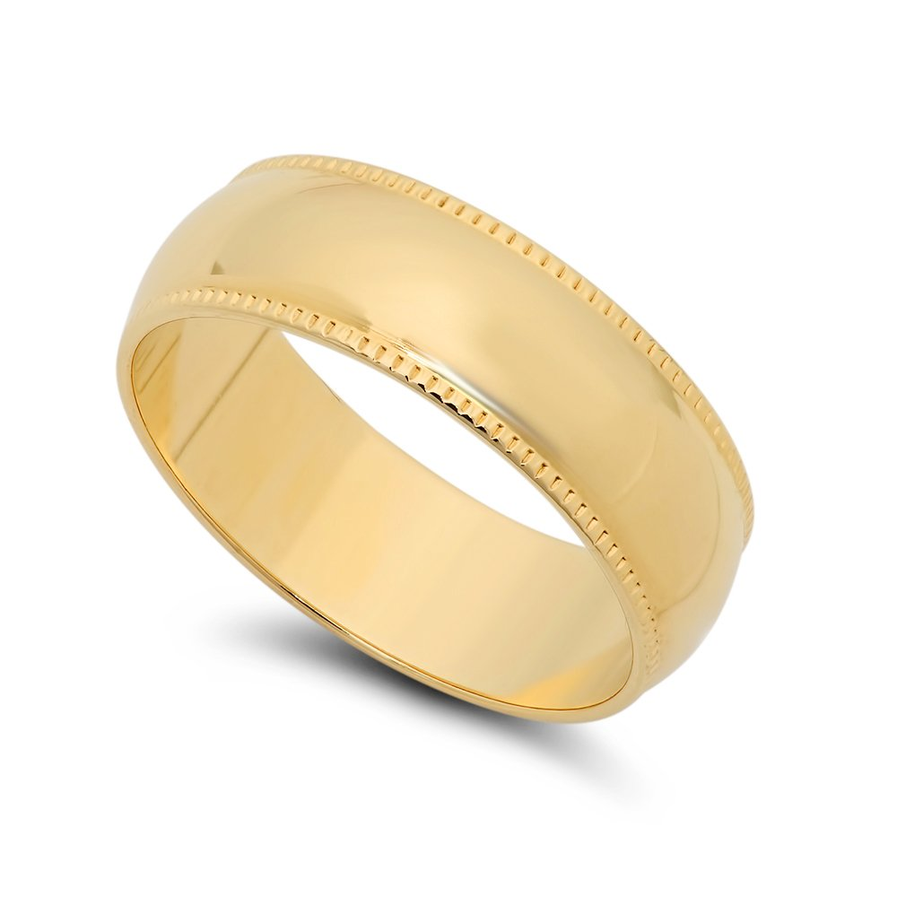 The Bling Factory 14k Yellow Gold Heavy Plated 6mm Milgrain Edged Domed Wedding Band, Size 10.5 + Jewelry Polishing Cloth