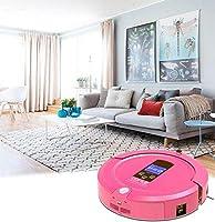 E-KIA Robot Aspirador De Limpieza Friegasuelos Aspirador TecnologíA De Sensor Infrarrojo Autocarga Limpieza Silenciosa Silenciosa (Rosa)