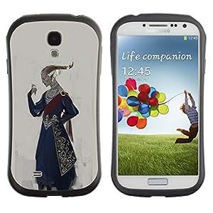 LASTONE PHONE CASE / Suave Silicona Caso Carcasa de Caucho Funda para Samsung Galaxy S4 I9500 / Royal Ruler Art King Outfit Attire Hairstyle Golden
