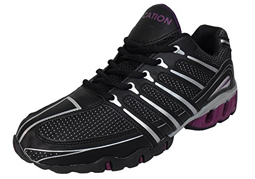 Running Shoe Shock Location Ladies Trainer Womens Gym Fitness Jogging Berry Black Absorbing Trainers BCUqt6w