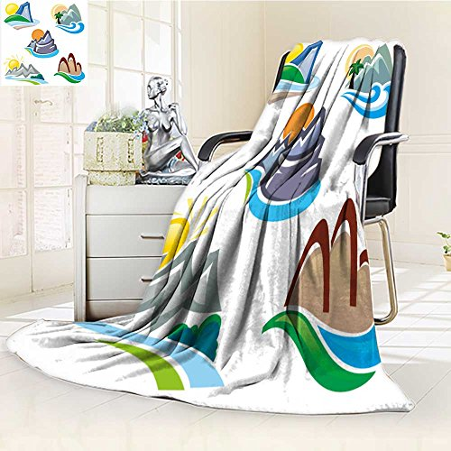 Fleece Blanket 300 GSM Mountain and Hills Symbols Anti-Static Double-Sides Reversible Super Soft Warm Fuzzy Bed Blanket(90