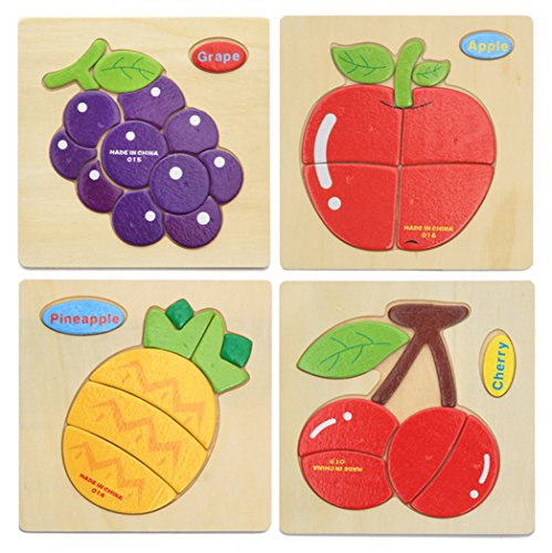 Apple Puzzle - Hillento 3D Wooden Puzzles Jigsaw Educational Toys Puzzle for Toddlers Kids - Educational Puzzle Toys Set, Educational & Sensory Learning for Toddlers, Set of 4(Grape, Apple, Cherry, Pineapple)
