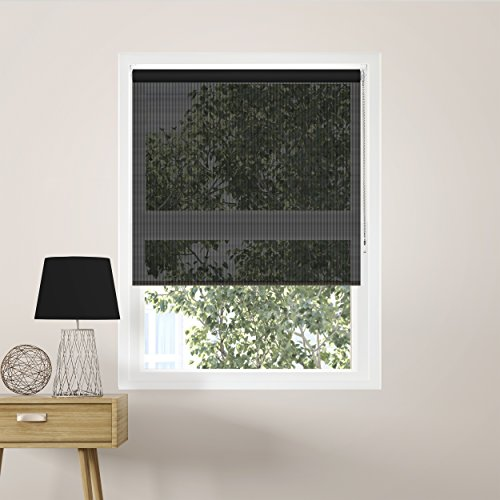 (Chicology Continuous Loop Beaded Chain Roller Shades / Window Blind Curtain Drape, Solar, Block Out UV Rays - Midnight Black, 24
