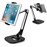 "AboveTEK Long Arm Aluminum Tablet Stand, Folding iPad Stand with 360° Swivel iPhone Clamp Mount Holder, Fits 4-11"" Display Tablet/Phones for Kitchen Table Bedside Office Desk POS Kiosk Reception"