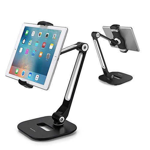 Multi Camera Bracket (AboveTEK Long Arm Aluminum Tablet Stand, Folding iPad Stand with 360° Swivel iPhone Clamp Mount Holder, Fits 4-11
