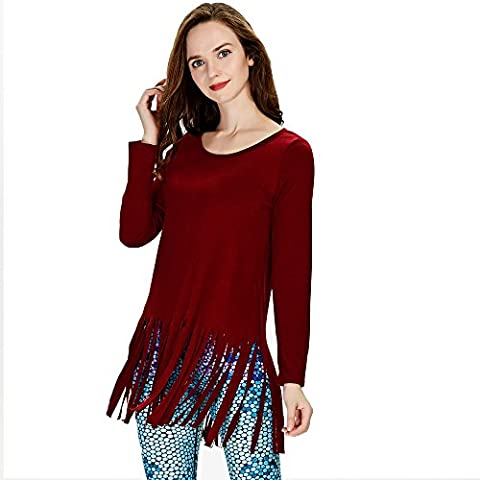 Ensasa Women's Tunic Top With Tassels Long Sleeves Crew Neck Casual T-Shirt Dress, Wine Red, Small - Top Snowflakes