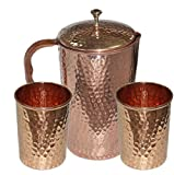 Ayurvedic Pure Copper Water Pitcher Jug Set 2 Water Glasses Cup Tumbler Jug Capacity 54 Ounce Glass Capacity 10 Ounce Copper Hammered