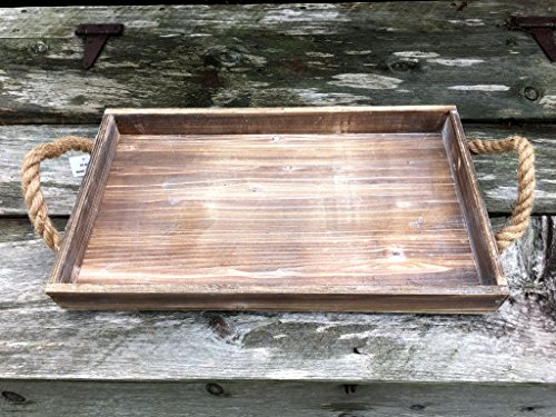 Rustic Beach Wood Tray with Jute Rope Handles - 20-in