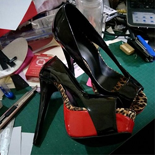 Fashion 45 7 VIVIOO Black Cm Peep Size Toe Pumps Sandals Heeled 14 Fabric Novelty 34 High Prom Leather Shoes Shoes 5 qUUwtrR