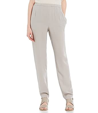 137192f6894 Image Unavailable. Image not available for. Color  Eileen Fisher Plus  Silver Silk Georgette Crepe Pants ...