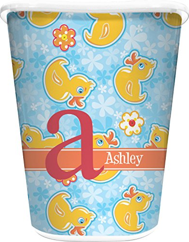RNK Shops Rubber Duckies & Flowers Waste Basket - Double Sided (White) (Personalized)