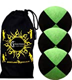 3x Pro Thud Juggling Balls - Deluxe (SUEDE) Professional Juggling Ball Set of 3 with ''Kid-Jo Learn To Juggle'' DVD, and Fabric Travel Bag! (Black/Green)