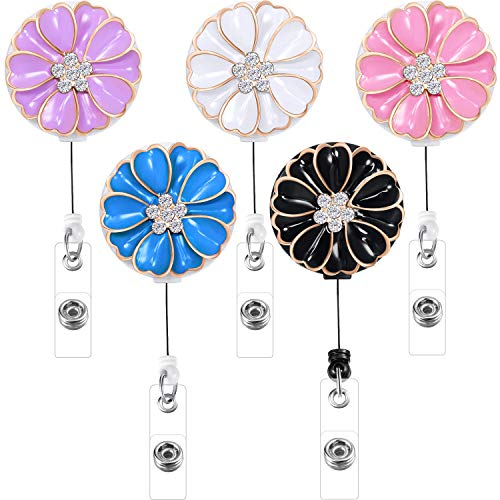 Boao 5 Pieces Retractable Badge Holder with Alligator Clip, ID Badge Reel Clip, Multiple (Crystal)
