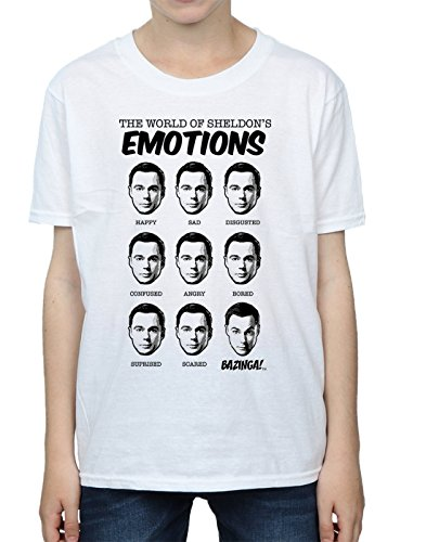 Sheldon Big Theory Boy Camiseta Bang Blanco Emotions T6qInBwx
