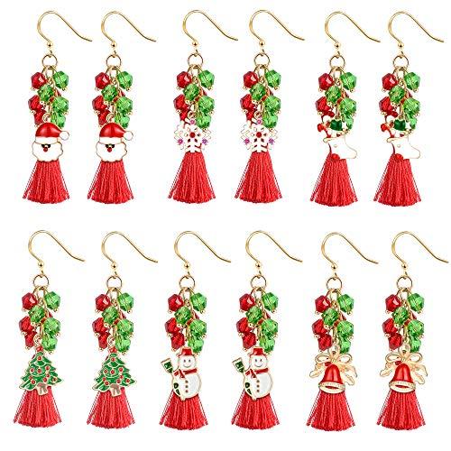 Christmas Tassel Earrings Holiday Jewelry Set gifts for Womens Girls, Thanksgiving Xmas Jewelry Christmas Snowman Snowflake Sock Santa Claus Christmas Tree Bell Drop Dangle Earrings(6pcs) (1)