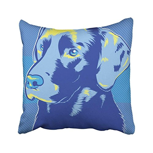 - Emvency 18X18 Inch Throw Pillow Cover Polyester Black Lab Labrador Dog Pop Style Blue Golden Face Head Painting Vintage Grooming Chocolate Cushion Decorative Pillowcase Square Two Side Print for Home