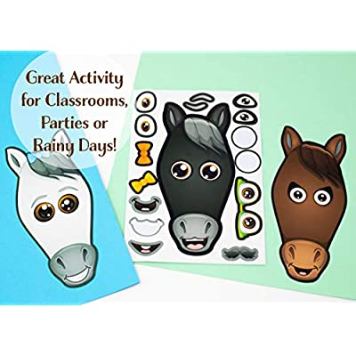 24 Make A Horse Stickers Sheets For Kids - Horse, Petting Zoo, Barnyard Theme Birthday Party Favors & Decorations - Includes Brown, Black, White/Grey Horses - Fun Craft Activity For Children 3+: Toys & Games