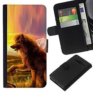 KingStore / Leather Etui en cuir / Samsung Galaxy Core Prime / Perro del lobo del cuento de hadas del arte de la naturaleza Campo Vista