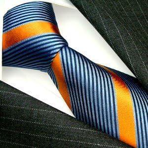 Blau Orange gestreift 84402 Lorenzo Cana Marken Design Krawatte aus 100/% Seide