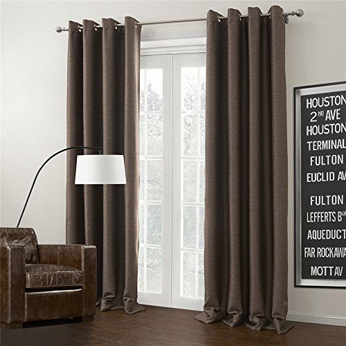 IYUEGO Brown Curtain Solid Grommet Top Blackout Curtain Draperies With Multi Size Customs 72