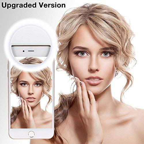 Leadpo l180 Upgraded Version Leadpo Selfie Ring Light 3-Level Brightness 36 LED for iPhone Samsung Galaxy Sony, Motorola and Other Smart Phones, Clips On Night Ring Fill Light, White