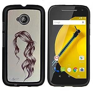 """Be-Star Único Patrón Plástico Duro Fundas Cover Cubre Hard Case Cover Para Motorola Moto E2 / E(2nd gen)( Peinado Arte ondulada Retrato Anónimo Belleza"""" )"""