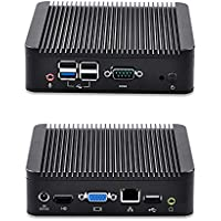 QOTOM Mini PC Q190N-S01 with HD Video port, VGA, Gigabit LAN port, 5 USB, COM, (2GB RAM, 64GB SSD, WIFI), X86 Mini PC Linux / Windows