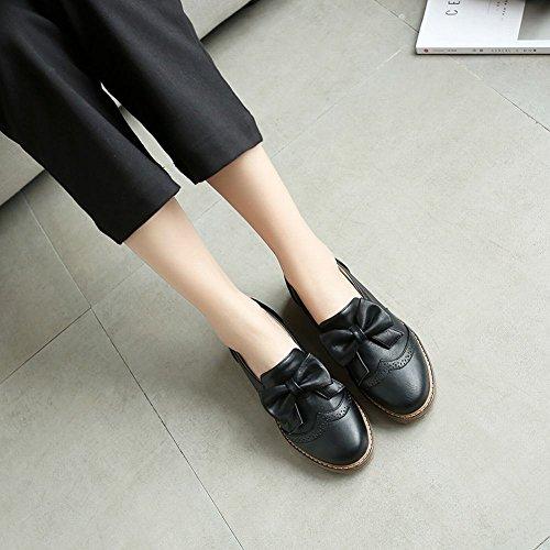 Mee Shoes Damen Schleife ohne Verschluss runde Pumps Schwarz
