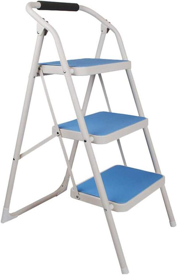 Tubo de escalera de metal plegable para uso doméstico Tubo de hierro engrosado Escalera de espiga de tres pasos para interiores Azul durable: Amazon.es: Bricolaje y herramientas