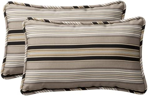 Pillow Perfect Decorative Black Beige Striped Toss Pillow, Rectangle, 2-Pack
