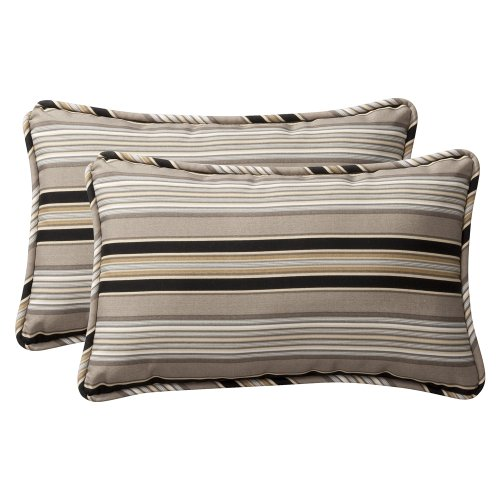 Pillow Perfect Decorative Black/Beige Striped Toss Pillow, Rectangle, -