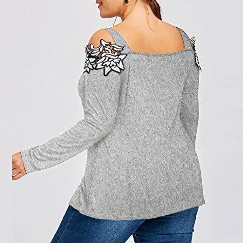 Unie Wolfleague Brod T Manche Sexy Femme Grande Taille Shirt Pull Shirts paule Chemisier Gris Tunique Longue Couleur Blouse 4XL XL Femme ~ qxq7rF6