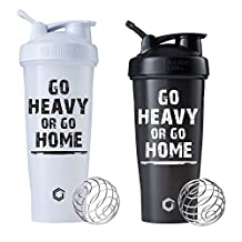 Go Heavy or Go Home Blender Bottle 28 oz or 32oz Classic Shaker Cup, Comes with Blenderball to Break up Your Protein (White 32oz and Black 28oz 2pk)