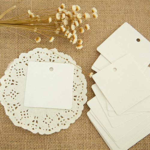 Kraft Paper Gift Tags,100pcs DIY Scrapbooking Square Paper Blank Hang Tags Crafts Postcards Christmas Wedding Party Decoration Label Card 6x6cm - White (Angel Postcard Christmas)