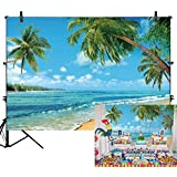 Allenjoy 7x5ft Summer Sunshine Luau Tropical Paradise Beach Backdrop Happy Birthday Hawaii Blue Sky Seaside Island Palm Tree Party Decor Holiday Trip Vacation Kids Portrait Photoshoot Studio Props