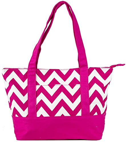 NEW! High Quality Zippered Pattern Prints Large Roomy Canvas Tote Bag,Chevron Fuschia