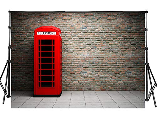 Sensfun 7x5ft Red Brick Wall Photography Backdrops Retro Red Telephone Booth Grey Floor Vinyl Photo Background for Wedding Happy Birthday Party Photobooth Banner Photo Studio Props(WP026/7x5ft)