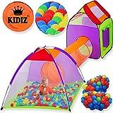 KIDIZ® Spielzelt +Tunnel + 200 Bälle + Tasche Kinderzelt Bällebad Spielhaus Babyzelt, Größe:XXL