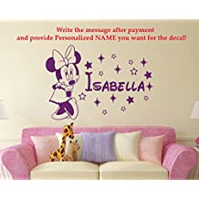 Minnie Mouse Name Wall Decal Vinyl Decals Sticker Custom Name Decals Personalized Baby Girl Name Decor Bedroom Nursery Baby Room Decor x69