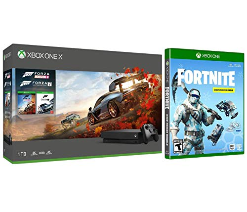 Xbox One X Forza Fortnite Deep Freeze Bonus Bundle: Forza Horizon 4, Motorsport 7, 1000 V-Bucks, Frostbite Skin and Xbox One X 1TB 4K HDR Gaming Console