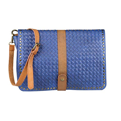 Italyshop24 Ca Cruzados Cm 32x25x8 Mujer Azul com Para Bolso rFq6rwS