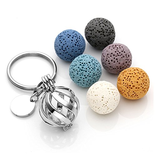 JOVIVI Vintage Twist Ball Locket Essential Oil Diffuser Keychain + 6 Lava Rock Stone Beads,Stainless Steel Key Ring Keychain]()