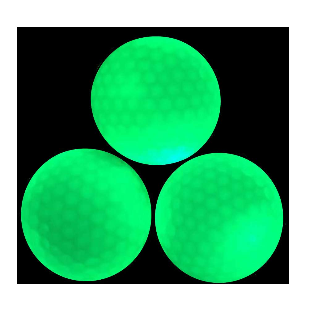 Glow Golf Balls - Luminous Night Golf Balls Rechargeable by Sunlight and Flashlight, Reusable and Glow in The Dark (3 Count) by Bikego