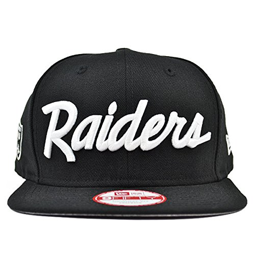 New Era Los Angeles Raiders 9Fifty Black and White Vintage Script N.W.A Adjustable Snapback Hat NFL -