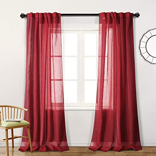 MYSKY HOME Back Tab and Rod Pocket Window Crushed Voile Sheer Curtains for Bedroom, Red, 51 x 84 inch, Set of 2 Crinkle Sheer Curtain Panels (Curtains Sheer Panel Polyester)