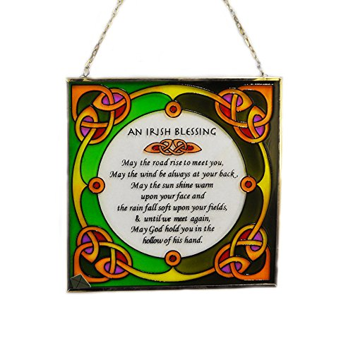 Irish Suncatcher - Irish Blessing Stained Glass Window Hanging Irish Designed in Galway by Royal Tara