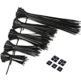 Tools & Hardware : GWHOLE Self-Locking Nylon Cable Tie Zip Ties Set with Adhesive Mounts(4,6,7,8,12 inch),500 Combo Pack, Black